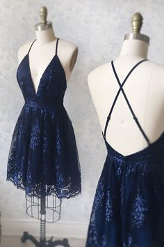 Navy Blue Homecoming Dress with Appliques, Vintage Party Dresses Spaghetti Straps Short Navy Blue Homecoming Dress with Appliques Navy Blue Homecoming Dress, Navy Blue Short Dress, Navy Blue Dresses, Prom Dresses With Sleeves, Backless Prom Dresses, Blush Dresses, Semi Dresses, Grad Dresses, Formal Dresses
