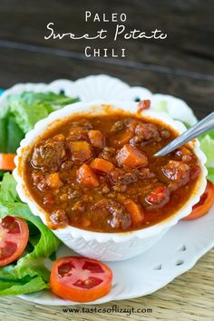 Indulge yourself in a bowl of spicy chili that is full of beef and sweet potatoes. It's thick, rich and slightly sweet while being grain free, sugar free and dairy free.