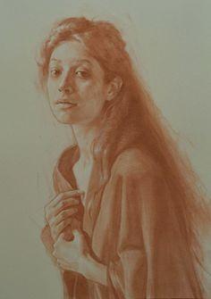 Kerry Dunn, conté pastel on paper, 2016 {figurative art beautiful female head torso woman portrait drawing} kerrydunn.com