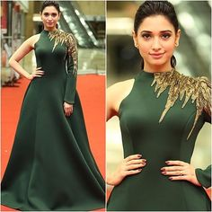looks so regal in this leaf green Royal styled gown as she walks down the red carpet to attend CineMAa Awards 2016 Indian Gowns Dresses, Evening Dresses, Girls Dresses, Formal Dresses, Dress Sketches, Western Dresses, Indian Designer Wear, African Dress, Bollywood Fashion