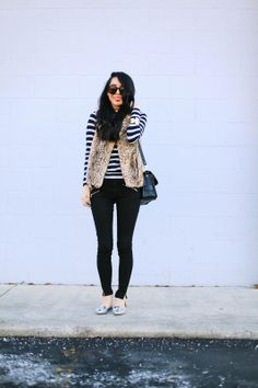 Leopard vest + silver loafers = love