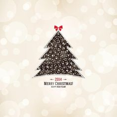 Free Vector 2014 Merry Christmas and Happy New year elegant background Geometric shape Tree
