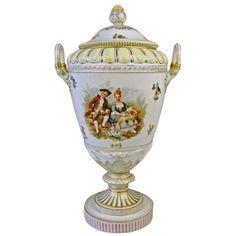 KPM BERLIN HUGE LIDDED URN PRESENTATION VASE TYPE WEIMAR PAINTED c.1900 | From a unique collection of antique and modern porcelain at https://www.1stdibs.com/furniture/dining-entertaining/porcelain/