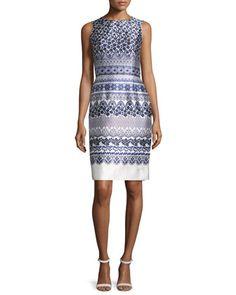 Lace-Print+Mikado+Sheath+Dress,+White/Navy+by+Oscar+de+la+Renta+at+Neiman+Marcus.