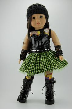 3 piece green and black houndstooth print punk dress by DolliciousClothes. Fashioned with the LJC Blossom Dress pattern. Find the pattern at http://www.pixiefaire.com/products/blossom-dress-pattern-18-dolls. #pixiefaire #libertyjane #blossomdress