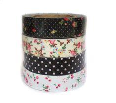 Washi Tape. Fabric Gothic combination. Pack 4 cintas. Fabric Tape. Tela de algodón adhesiva (15mm x 5m)