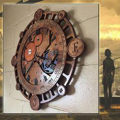 Steampunk Wall Clock Wooden Wall Clock Compass Clock Wood