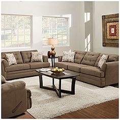 """Sink into sophisticated style with this beautiful living room collection. The neutral tones accent any home décor perfectly. Tufted foam seat cushions provide longer lasting comfort and an elegant, understated style.  Microfiber fabric designed for easy cleaning and comfort Includes two accent pillows per sofa Made in the U.S.A. 100% polyester Set includes Sofa & Loveseat only Sofa: 88""""L x 37""""D x 39""""H Loveseat: 64""""L x 37""""D x 39""""H"""