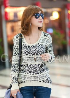 East Knitting long sleeve sweaters for women 2014 Vintage totem loose  pullovers short knitwears US  6.99 4dcd9be9417f