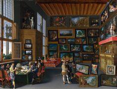 Intenditori e amanti dell'arte in sala di dipinti e sculture, Anonimo