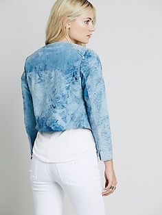 Sabrina Tach Debbie Blue Suede Jacket at Free People Clothing Boutique