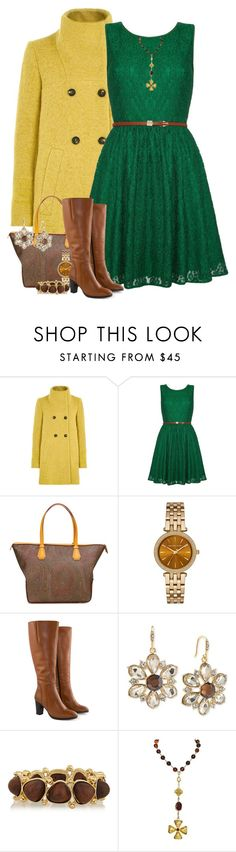 """Brown, Mustard, & Green 3"" by majezy ❤ liked on Polyvore featuring Louche, Yumi, Etro, Michael Kors, Jilsen Quality Boots, Carolee, Kenneth Jay Lane, Chanel, women's clothing and women's fashion"