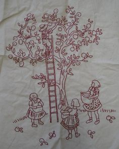 Autumn themed redwork of father with three daughters harvesting apples.
