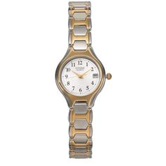 Citizen Women's Easy Reader Stainless Steel Watch (140 BAM) ❤ liked on Polyvore featuring jewelry, watches, two tone, stainless steel jewellery, two-tone watches, water resistant watches, gold-face watches and quartz movement watches http://www.thesterlin