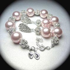 Bridal jewelry  Pearl bracelet and earring by QueenMeJewelryLLC