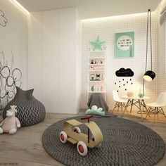 Modernes Kinderzimmer / Kinderzimmer von ELEMENTY-Pracownia Architektury Wnętrz - Home Diy Projects Baby Bedroom, Baby Boy Rooms, Girls Bedroom, Bedroom Decor, Kids Corner, Baby Decor, Kids Decor, Ideas Dormitorios, Kids Room Design