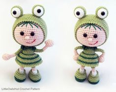 118 Crochet Pattern Girl doll in a frog outfit by LittleOwlsHut ♡