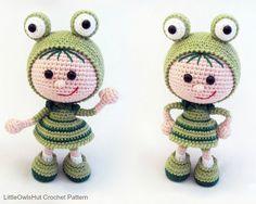 118 Crochet Pattern Girl doll in a frog outfit by LittleOwlsHut ♡