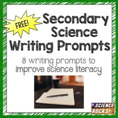 Want to improve your students' science literacy? Included are 8 secondary science writing prompts! One free writing prompt is provided in this freebie from each of my paid units. Check out the prompts for each unit! Science Writing, Writing Promps, Teaching Science, Science Education, Mad Science, Science Resources, Science Lessons, Biology Lessons, Activities
