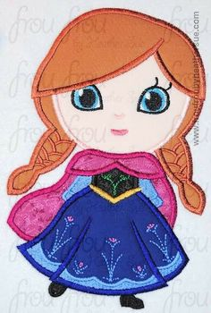 Annie Freezing Cutie Little Princess Machine Applique Embroidery Design, Multiple Sizes, NOW INCLUDING 4 INCH