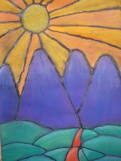 6th Graders Warm/Cool Landscape Project using chalk pastels. (Not sure if this piece is from a student, a teacher, or who?)