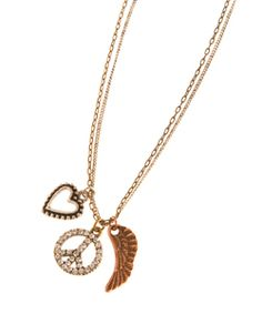 Blu Bijoux Peace, Wing And Heart Charm Necklace  Price: $20.00