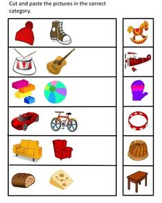 Cut out the pictures and ask children to paste them in the suitable categories.