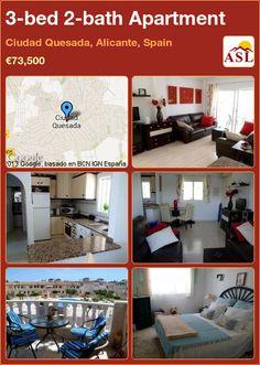 3-bed 2-bath Apartment in Ciudad Quesada, Alicante, Spain ►€73,500 #PropertyForSaleInSpain