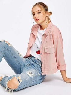 To find out about the Single Breasted Ripped Denim Jacket at SHEIN, part of our latest Denim Jackets ready to shop online today! Pink Denim Jacket, Cropped Denim Jacket, Ripped Denim, Distressed Denim, Denim Jackets, Denim Overalls, Jean Jackets, Denim Shop, Jacket Style