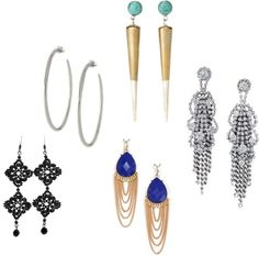 """""""Earrings - round face shape"""" by sunet-vermaak ❤ liked on Polyvore"""