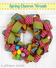 DIY:: Spring Chevron Wreath Tutorial:    Supplies:  -Wreath Form  -Chevron Ribbon   (Hobby Lobby and @ sites like Very Jane or Groopdealz)  -Styrofoam Eggs  -Burlap  -Floral Pins  -Hot Glue Gun     How To @:  http://www.aglimpseinsideblog.com/2013/03/spring-chevron-wreath-tutorial.html