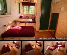 Inside an Ecovillage Tiny House Look at the space saving arrangement of seating and fold away table. Storage benches make it especially useful :) Inside Tiny Houses, House Inside, Tiny House On Wheels, Tiny House Living, Small Living, Home And Living, Rv Living, Living Room, Tiny House Movement