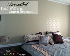Stenciled Focal Wall in Master Bedroom | Project by My Craftily Ever After with Endless Moorish Circles Stencil http://www.mycraftilyeverafter.com/2014/01/02/stenciled-focal-wall-master-bedroom/