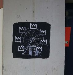 One of the graffiti artworks in a nod to Jean-Michel Basquiat, by Banksy.  Sept. 2017