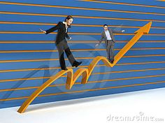 Business people standing on a graphic that shows growth