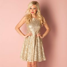 Women   Champagne Womens Sequin Skater Dress   Get The label