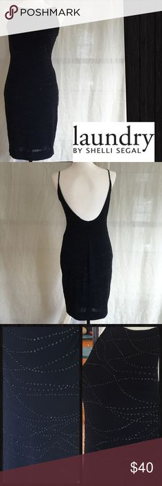 Petite Laundry By Shelli Segal Sequined Dress Sz 6 Beautiful bedazzled scattered sequin design sheath dress. Thin straps hold the front neck and scoops into a stunning U shape. Size petite 6. Never been worn NWOT. Perfect for cocktail or evening. Fully lined. Laundry by Shelli Segal Dresses