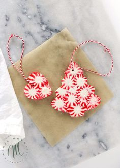 This Peppermint Christmas Ornament DIY project is simple and fun, which makes it a great holiday activity for kids. Use to decorate your tree or gifts! Diy Christmas Tags, Christmas Decorations For Kids, Christmas Gifts For Friends, Felt Christmas Ornaments, Homemade Christmas Gifts, Kids Christmas, Christmas Crafts, Christmas Recipes, Christmas Activities