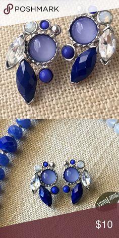 Blue cerulean ombré earrings👑 Cerulean blue ombré earrings with stones 💎. Worn once, great condition. White House Black Market Jewelry Earrings