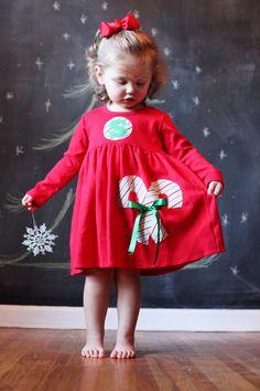Candy Cane Christmas Dress  Personalized by roundthebendagain