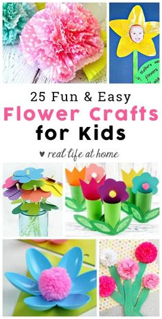 Easy Flower Crafts for Kids: Perfect for Mother's Day Crafts and Springtime Fun - Kid-Friendly Crafts and Projects - Springtime is such a great time to work on flower crafts. To get you prepared with some ideas for f - Arts And Crafts For Teens, Art And Craft Videos, Easy Arts And Crafts, Spring Crafts For Kids, Mothers Day Crafts For Kids, Mothers Day Cards, At Home Crafts For Kids, Flower Crafts Kids, Toddler Crafts