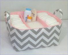 "XL Diaper Caddy 13""x11""x7"" Fabric Storage Organizer, Basket Grey/White Chevron with Light Pink Lining"
