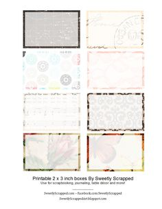 Sweetly Scrapped: *Free* Printable 2 x 3 Cards...                                                                                                                                                                                 Mais