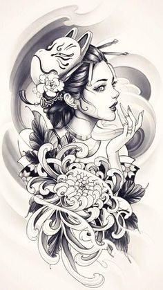 Geisha Tattoo Design, Japan Tattoo Design, Tattoo Design Drawings, Geisha Tattoos, Dark Art Tattoo, Body Art Tattoos, Girl Tattoos, Sleeve Tattoos, Japanese Flower Tattoo
