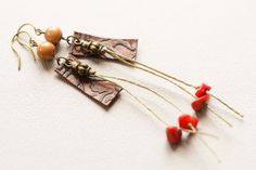 Boho Leather Earrings Colorful Leather by MusingTreeStudios, $14.39
