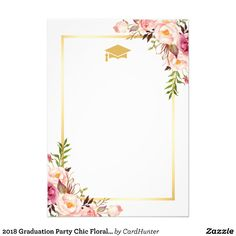 Shop 2020 Graduation Party Chic Floral Golden Frame Invitation created by CardHunter. Graduation Crafts, Graduation Stickers, Graduation Party Themes, Graduation Decorations, Graduation Party Invitations, Graduation Templates, Graduation Pictures, Wedding Invitations, Graduation Wallpaper