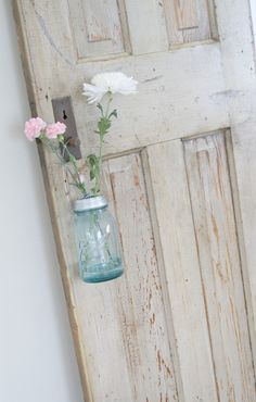 Another look at the blue mason jars with the chippy whites and pale pink <3 Love it