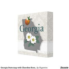 Georgia State map with Cherokee Rose and peach art Canvas Print