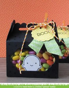 Scalloped Treat Box, Tiny Tags, Booyah _ halloween treat box by Yainea for Lawn Fawn