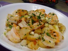 Potatoes Sauteed With Shrimp. Googled what I had in the kitchen and came up with this - turned out a treat!
